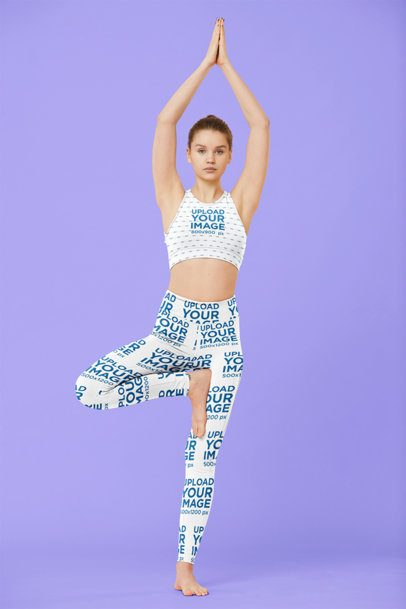 Sports Bra and Leggings Mockup of a Female Yogi in a Studio 38658-r-el2