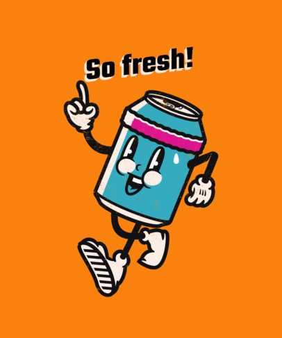 T-Shirt Design Maker with a Fun Soda Can Cartoon Character Graphic 2245d-el1