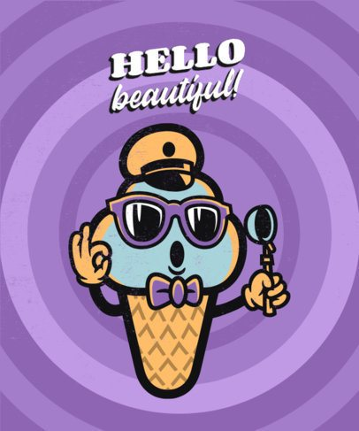 Retro T-Shirt Design Maker Featuring a 60's-Style Ice Cream 2245e-el1
