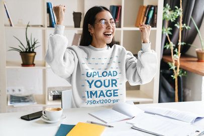 Crewneck Sweatshirt Mockup of a Joyful College Student at Home 37833-r-el2