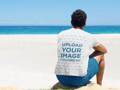 Back-View T-Shirt Mockup of a Man at the Beach 35380-r-el2