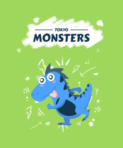 Kids T-Shirt Design Maker Featuring Happy Monster Cartoons 2216-el1