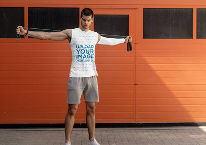 Tank Top Mockup of a Fit Man with a Jumping Rope 37804r-el2