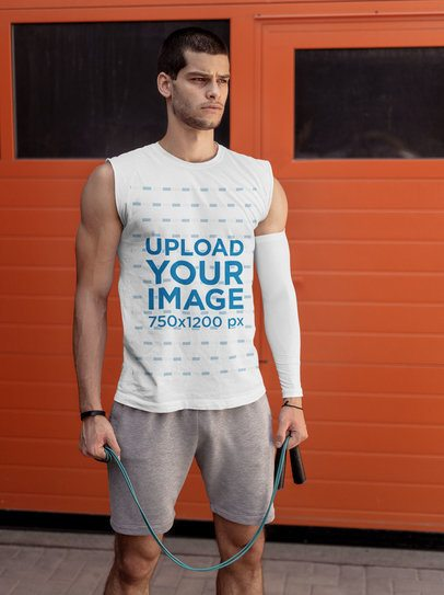 Tank Top Mockup of a Man with a Training Sleeve 38040r-el2