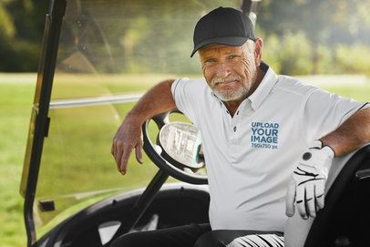 Polo Shirt Mockup of a Senior Man Sitting in a Golf Cart 39489-r-el2