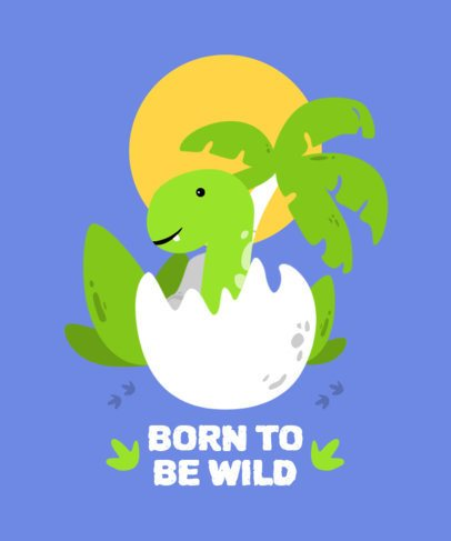 Illustrated T-Shirt Design Template with a Newborn Dinosaur 2204a-el1