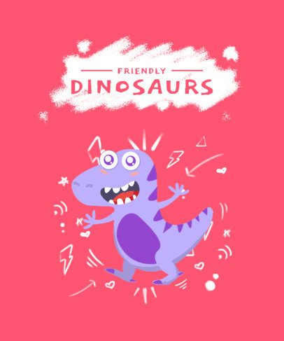 Kids T-Shirt Design Template with a Friendly Dinosaur Cartoon 2216b-el1
