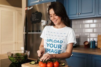 T-Shirt Mockup of a Woman Cooking Vegetables 39557-r-el2