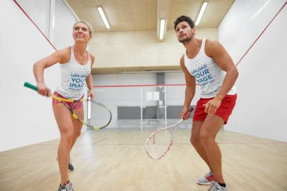 Tank Top Mockup of a Woman and a Man Playing Squash 38241-r-el2