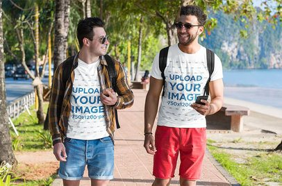 T-Shirt Mockup Featuring Two Men on Vacation 39585-r-el2