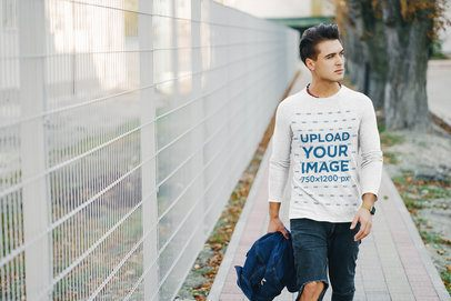 Mockup Featuring a Man with a Heathered Long Sleeve Tee Walking on the Street 37616-r-el2