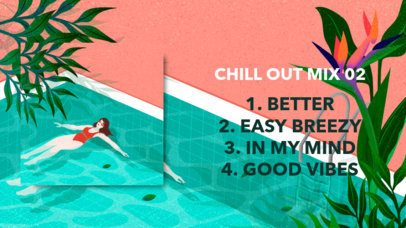 YouTube Thumbnail Creator Featuring a Tropical Design for a Summer Chill Out Mix 2739e