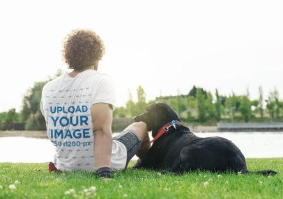 Back-View T-Shirt Mockup of a Man Chilling with His Dog 39428-r-el2
