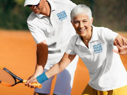 Polo Shirt Mockup of a Senior Woman with Her Tennis Coach 39503-r-el2