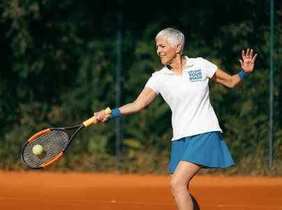 Mockup of a Senior Tennis Player Wearing a Polo Shirt 39508-r-el2