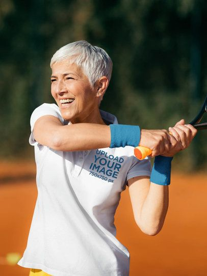 Polo Shirt Mockup of a Senior Woman Playing Tennis 39506-r-el2