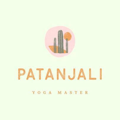 Yoga Logo Creator with a Desert Landscape Illustration 3464h