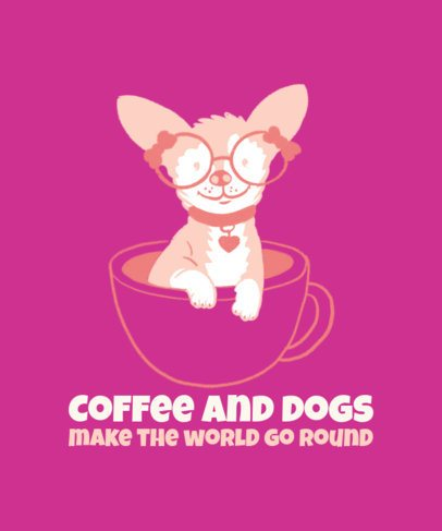 Illustrated T-Shirt Design Maker with a Tiny Dog in a Mug 2736f