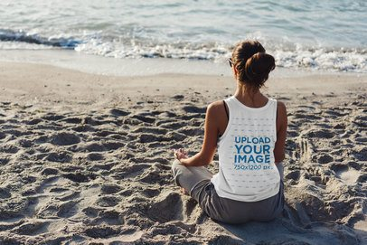 Back View Mockup of a Woman with a Tank Top Meditating on the Beach 38129-r-el2