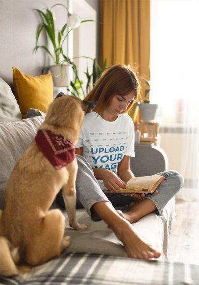 Tee Mockup of a Young Woman Reading Next to Her Dog 39064-r-el2