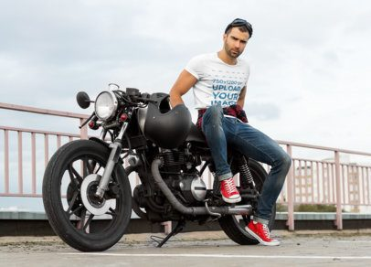T-Shirt Mockup of a Man Posing on a Motorcycle 34495-r-el2