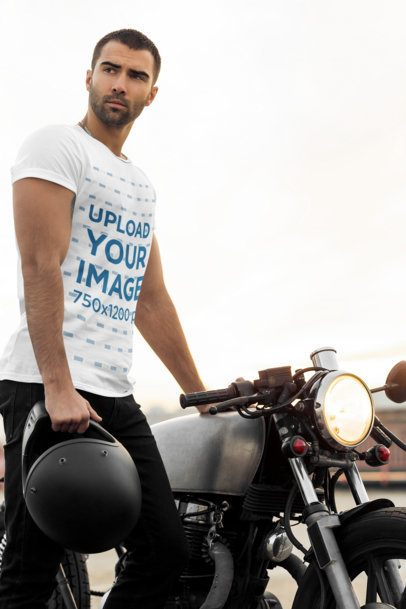 Mockup of a Man in a T-Shirt Posing Next to His Motorcycle 34500-r-el2