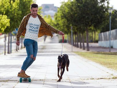 T-Shirt Mockup of a Man Skating with His Dog 34863-r-el2