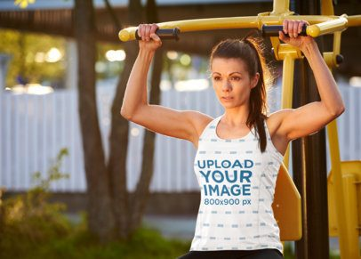 Mockup of a Woman in a Sublimated Tank Top Working Out 35418-r-el2