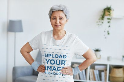 T-Shirt Mockup of a Short-Haired Senior Woman Posing With Her Arms on Her Waist 38664-r-el2