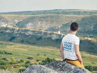 Mockup of a Man Wearing a Sublimated T-Shirt on a Hike 35214-r-el2