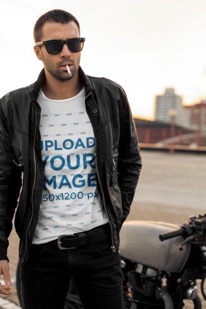 T-Shirt Mockup of a Cool Man Smoking a Cigar 38116-r-el2