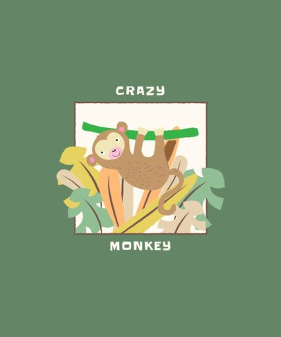 Illustrated T-Shirt Design Creator of a Monkey from a Liana 2332e-el1