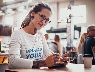 Long Sleeve tee Mockup of a Tattooed Woman with Locks at a Coffee Shop 37688-r-el2