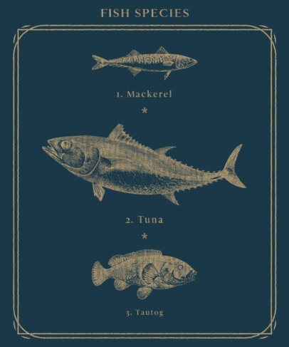 T-Shirt Design Maker Featuring Vintage Illustration of Sea Animals 2392-el1