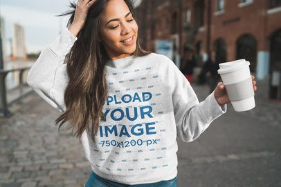 Heather Sweatshirt Mockup of a Happy Woman with Long Hair Walking in the City 38862-r-el2