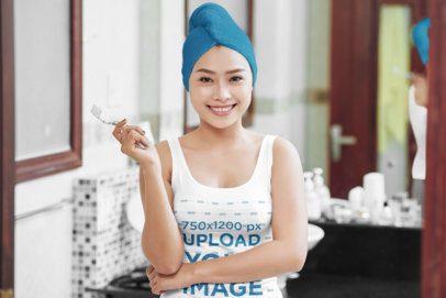 Tank Top Mockup of a Woman Brushing Her Teeth 35804-r-el2