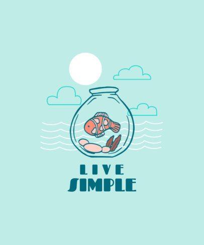 T-Shirt Design Maker Featuring a Cute Fish in a Fishtank 2334b-el1