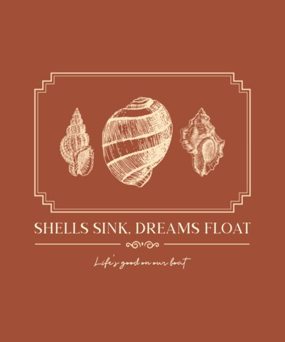 T-Shirt Design Maker Featuring Vintage-Looking Seashells 2391c-el1