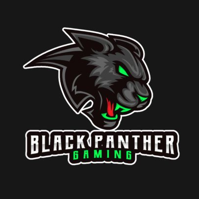 Gaming Logo Template with a Black Panther Illustration 2376f-el1