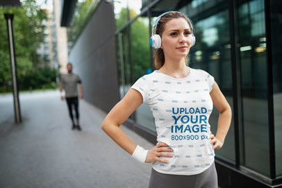 Mockup of a Female Runner Wearing a Sublimated T-Shirt 40010-r-el2