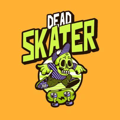 Logo Creator for an Urban Apparel Brand with a Skating Skeleton Cartoon 3492b