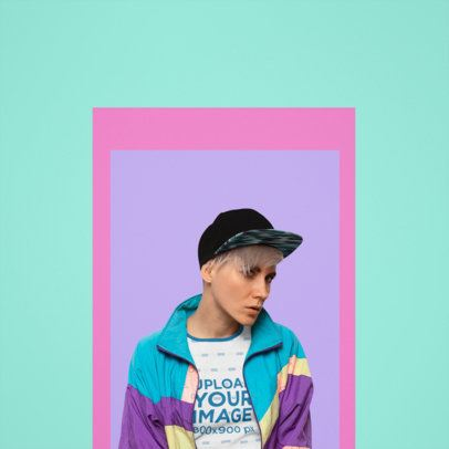 Ringer T-Shirt Mockup Featuring a Woman and a Colorful Background 37344-r-el2