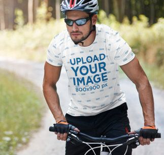 Sublimated T-Shirt Mockup of a Man Riding a Mountain Bike 35698-r-el2