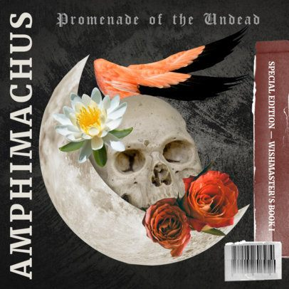 Album Cover Template Featuring a Dark Collage with a Skull Graphic 2762a