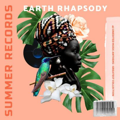 Album Cover Template Featuring a Fragmented Collage with Botanical Graphics 2762d