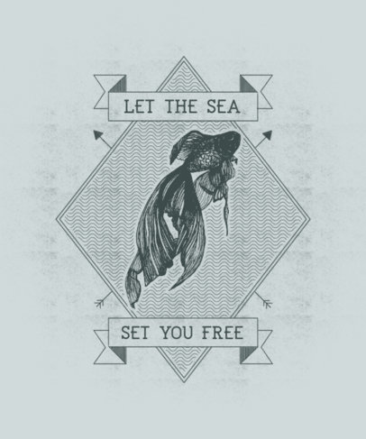 T-Shirt Design Generator with the Graphic of a Fish with Flowing Fins 2394c-el1