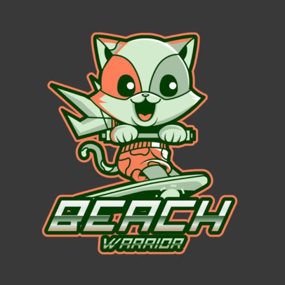 Logo Generator for Fortnite Fans Featuring a Cute Feline Character Surfing 3498j