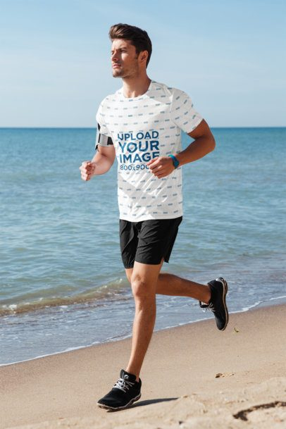 Sublimated T-Shirt Mockup of a Man Running at the Beach 36236-r-el2