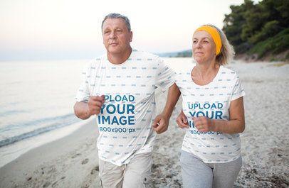 Activewear T-Shirt Mockup of a Senior Couple Running on the Beach 35847-r-el2