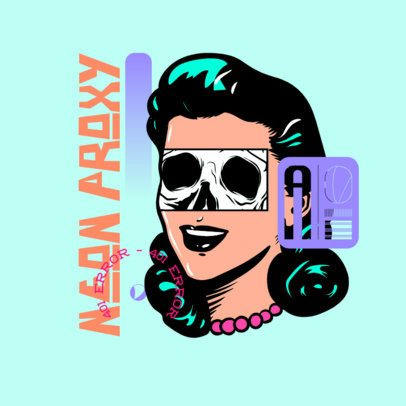 Online Logo MakerFeaturing a Retro Graphic of a Woman's Face 3486i